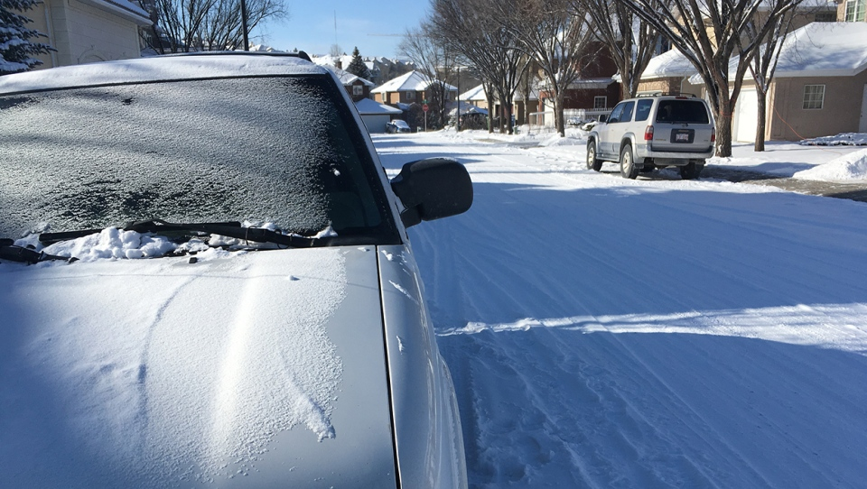 An overnight snowfall left some side roads a bit slick on Monday morning.