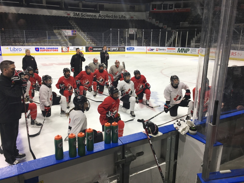 Team Canada members take instruction in London on Monday, Feb. 11, 2019 ahead of their Women's Rivalry Series with the U.S.