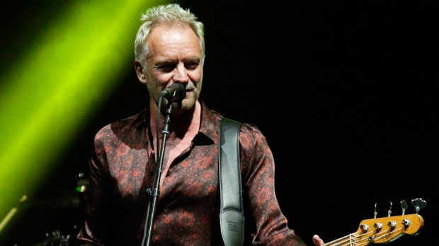 In this Oct. 19, 2018, file photo, singer Sting performs during a concert with singer Shaggy, not in frame, as part of their 'The 44/876' tour in Panama City. (THE CANADIAN PRESS/AP/Arnulfo Franco)