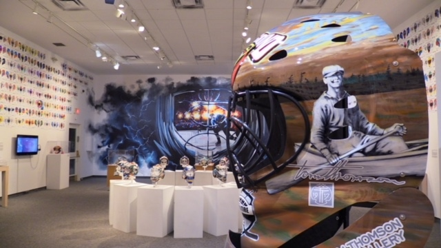 Goalie masks are featured in a new exhibition at the Tom Thomson Gallery in Owen Sound which is running until the end of April, 2019.