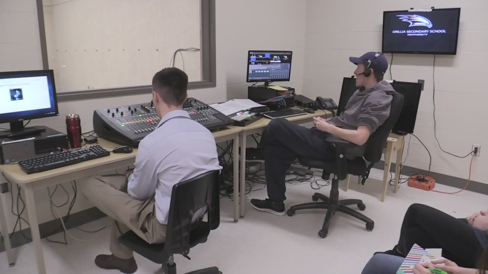 Students at Orillia Secondary work on a school broadcast on Mon., Feb 11, 2019 (CTV News/Craig Momney)