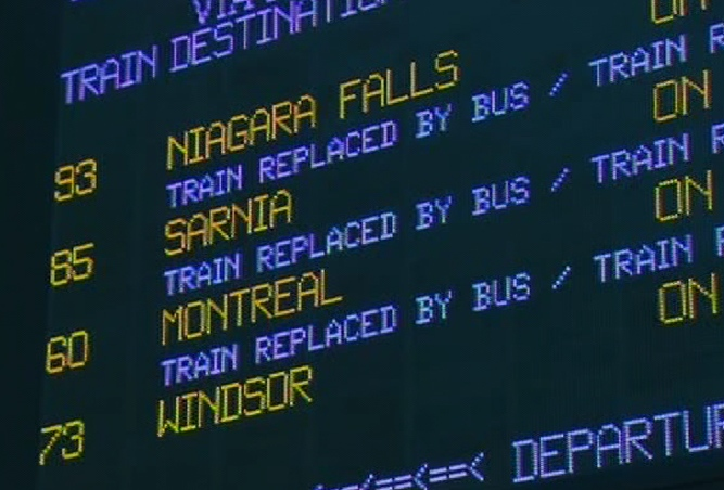 A VIA rail arrival and departures board explains that trips by train have been replaced with a bus service, at Union Station in downtown Toronto, Friday, July 24, 2009.
