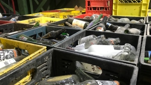 Bottles are pictured at a Saskatoon SARCAN facility in this file photo. (Carla Shynkaruk/CTV Saskatoon)