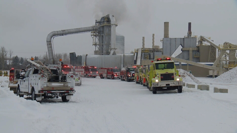 About 20 fire crews were on scene at a pellet plant in Entwistle, west of Edmonton, where two people were injured in a reported explosion.