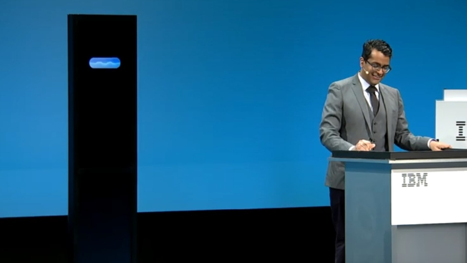 Debate Champion Harish Natarajan faces off against IBM's Project Debate AI system on Monday, February 11, 2019. (IBM / YouTube)