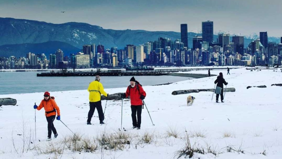 A photo by Instagram user @markaswan shows skiers at Spanish Banks.