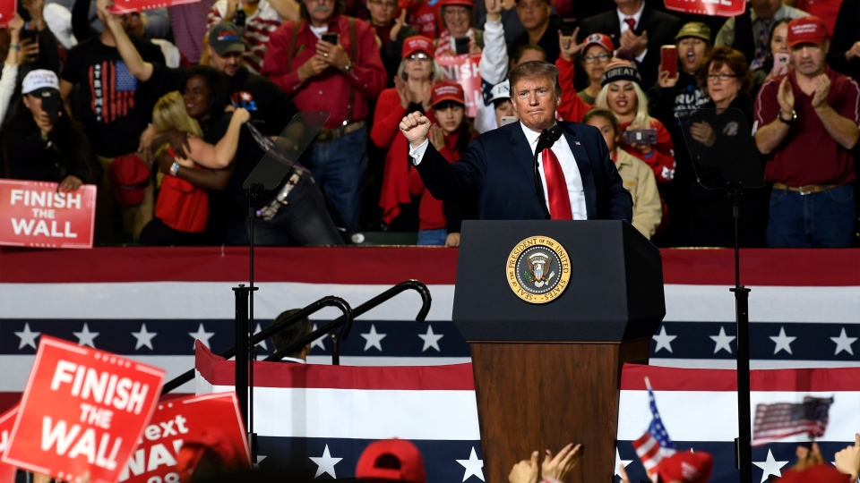 U.S. President Donald Trump speaks during a rally in El Paso, Texas, Monday, Feb. 11, 2019. (AP Photo/Susan Walsh)