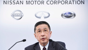 Nissan Motor Co. President and Chief Executive Officer Hiroto Saikawa speaks during a press conference at its Global Headquarter in Yokohama, near Tokyo, Tuesday, Feb. 12, 2019. (Akiko Matsushita/Kyodo News via AP)