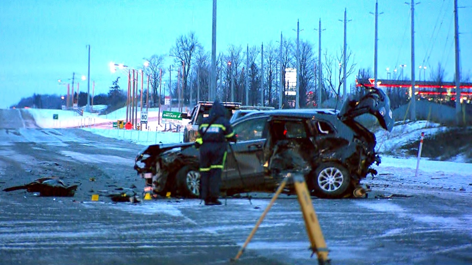 OPP investigating a crash in Vaughan on Feb. 12, 2019 that sent one driver to hospital in critical condition.