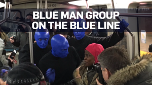 Blue Man Group rides Montreal metro Blue Line