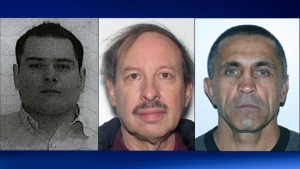From left to right the suspects are Francisco Javier Jiminez Guerrero, 35,  Frederick Rayman, 77, and Victor Vargotskii, 56.