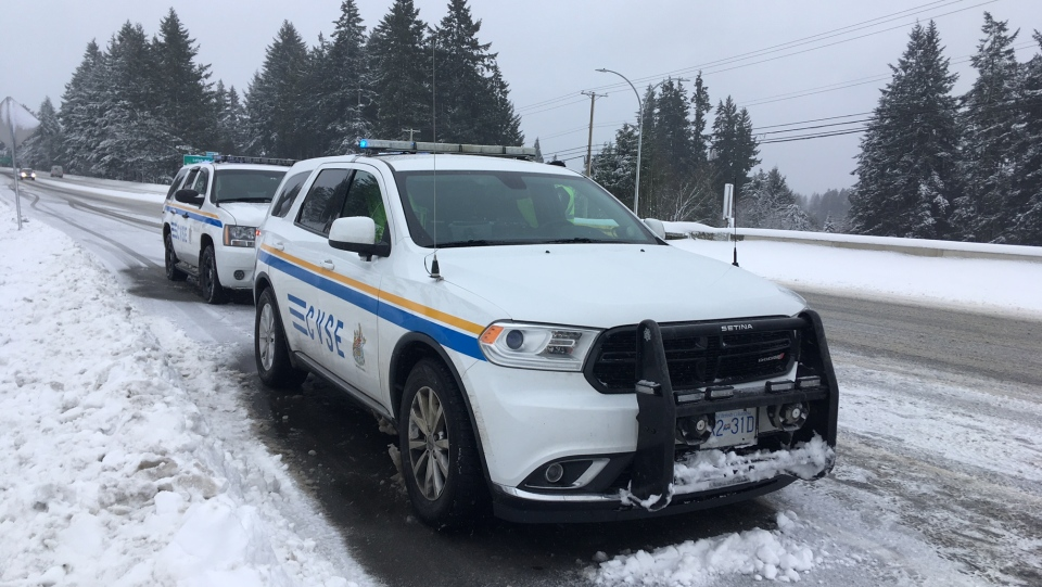 Commercial Vehicle Safety Enforcement officers conduct chain-up checks on the Trans-Canada Highway leading to the Malahat, Tues., Feb. 12, 2019. (CTV Vancouver Island)