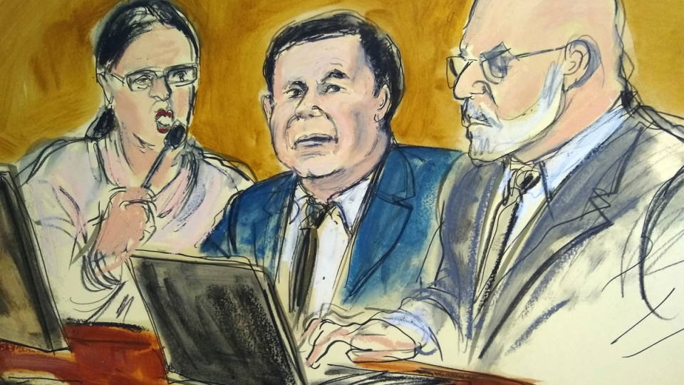Joaquin 'El Chapo' Guzman, centre, in a court sketch on Feb. 7, 2019. (Elizabeth Williams via AP)