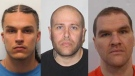 James Burnside (middle) has been found and is in custody. Nico Soubliere (left) and Darren Snell (right) remain unlawfully at large. (Saint John Police Force)