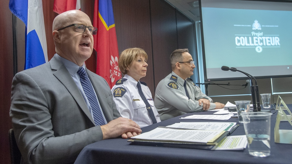 Stephane Bonin, director of criminal investigations for Canada Revenue Agency, left, RCMP Superintendent Martine Fontaine and RCMP Sgt. Francois-Olivier Myette, right, explain the dismantling of an international money laundering network during a news conference, in Montreal, Tuesday, Feb.12, 2019. THE CANADIAN PRESS/Ryan Remiorz