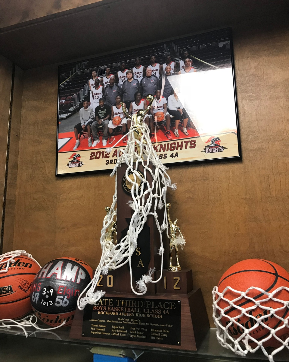 A trophy case at VanVleet's high school in Rockford.