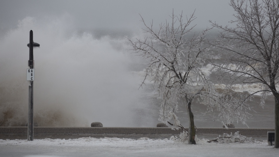 Some ice-encrusted trees are breaking under the weight as waves crash into the break wall of Spencer Smith Park in Burlington, Ont. on Tuesday, February 12, 2019. THE CANADIAN PRESS/Peter Power