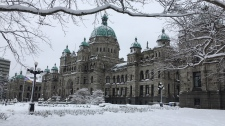 BC legislature Victoria snowy