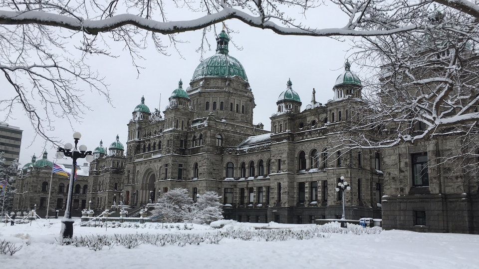 The snow-covered legislature in Victoria, B.C. is seen on Tues., Feb. 12., 2019. (CTV Vancouver Island)