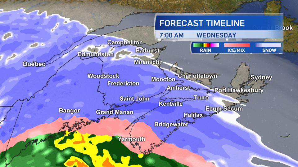 This map shows which parts of the Maritimes can expect what type of precipitation and when.