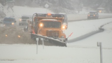 A plow clears snow off the Pat Bay Highway on Vancouver Island Tues., Feb. 12, 2019. (CTV Vancouver Island)