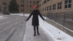 Walk like a penguin to prevent falls during slippery conditions