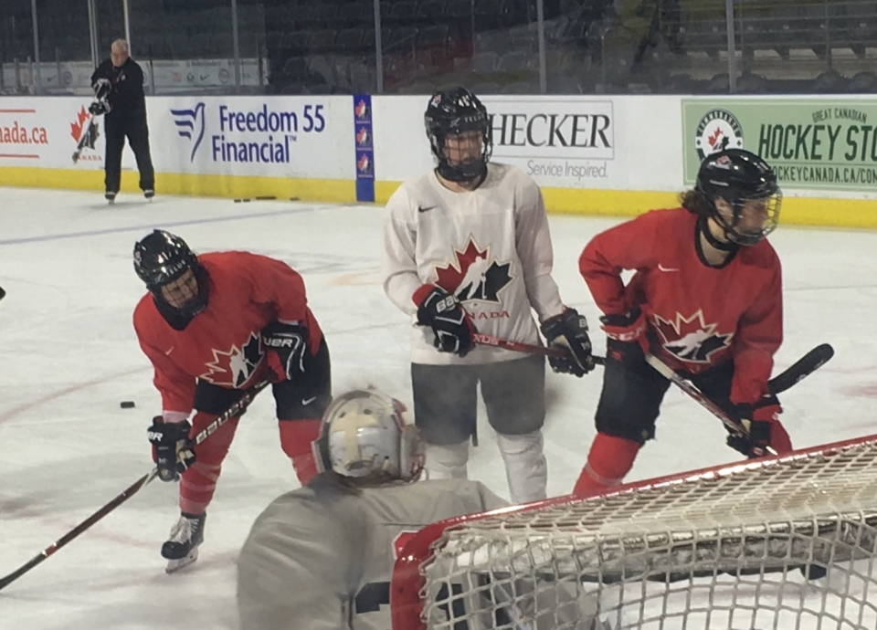 Brittany Howard, left and Katelyn Gosling, centre, during practice ahead of the Women's Rivalry Series on Tuesday, February 12, 2019.