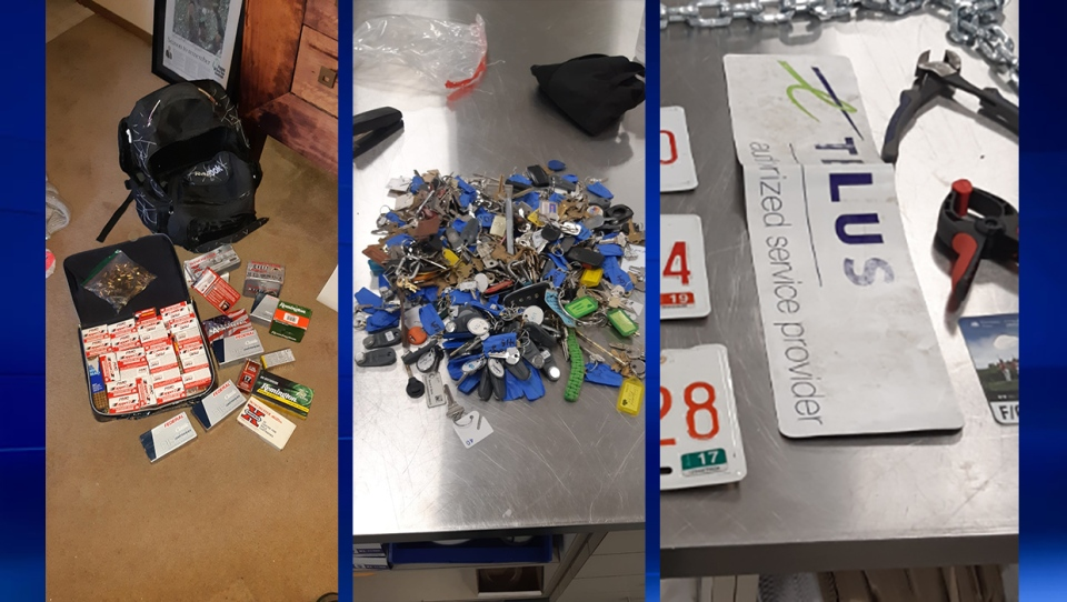 IDs, credit cards, keys and magnetic vehicle signs were also part of the haul.