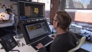 Dave Burgess, animation supervisor at Animal Logic, works on one of the characters in the Lego 2: The Second Part movie. (CTV)