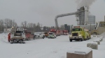 Three people were hospitalized after a fire and explosion at the Pinnacle Renewable Energy plant in Entwistle, Alta.