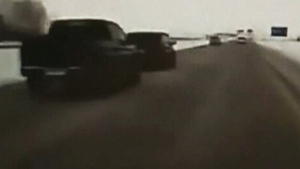 A dashcam video shows the moment when a pickup truck knocks into a minivan on a Saskatchewan highway.