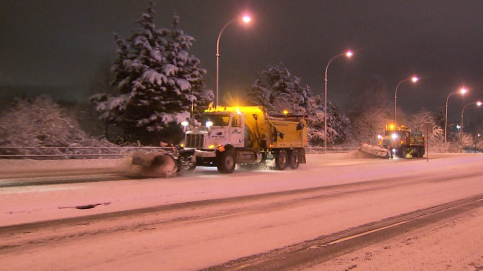 There was another busy night for salting and plowing crews in the Lower Mainland, but Environment Canada has now ended its snowfall warnings.