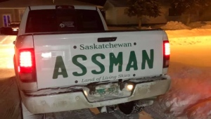 David Assman added a decal to the back of his truck after SGI rejected his custom licence plate request (Facebook: David Assman)