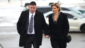 Former Canadian Gymnastics coach Dave Brubaker arrives at the courthouse with his wife Elizabeth Brubaker in Sarnia, Ont, on Wednesday, Feb. 13, 2019. (THE CANADIAN PRESS/Mark Spowart)