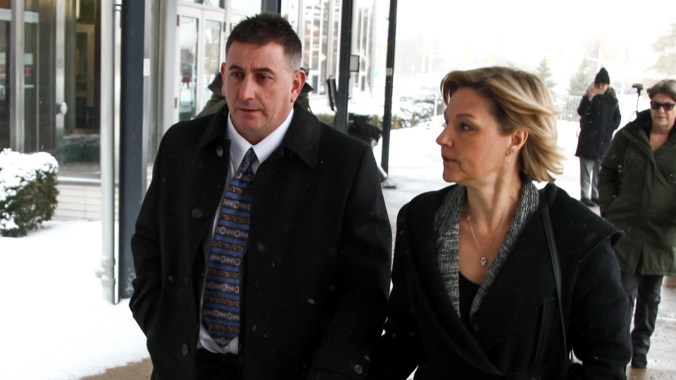 Former Canadian Gymnastics coach Dave Brubaker arrives at the courthouse with his wife Elizabeth Brubaker in Sarnia, Ont, on Wednesday, Feb. 13, 2019. THE CANADIAN PRESS/Mark Spowart.