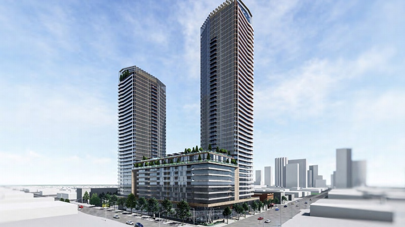 The two towers, proposed for Jasper Avenue and 108 Street, would have approximately 35 and 45 storeys and a maximum of 1,050 units.