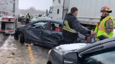 Pile-up on Highway 401