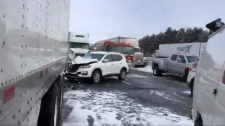 pileup on Highway 401