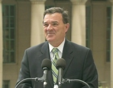 Finance Minister Jim Flaherty speaks outside of Union Station in Toronto, Friday, July 24, 2009.