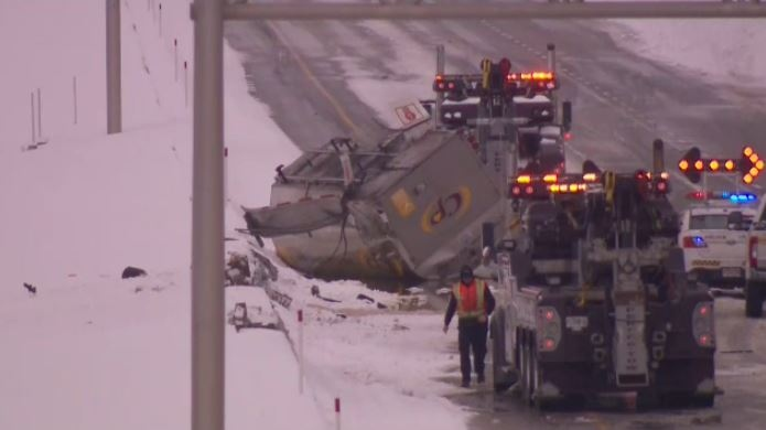 A tanker overturned on Highway 13 in Laval, spilling vegetable oil onto the road.