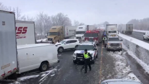 The scene of a pileup with more than 20 vehicles. (@OPP_HSD / Twitter)