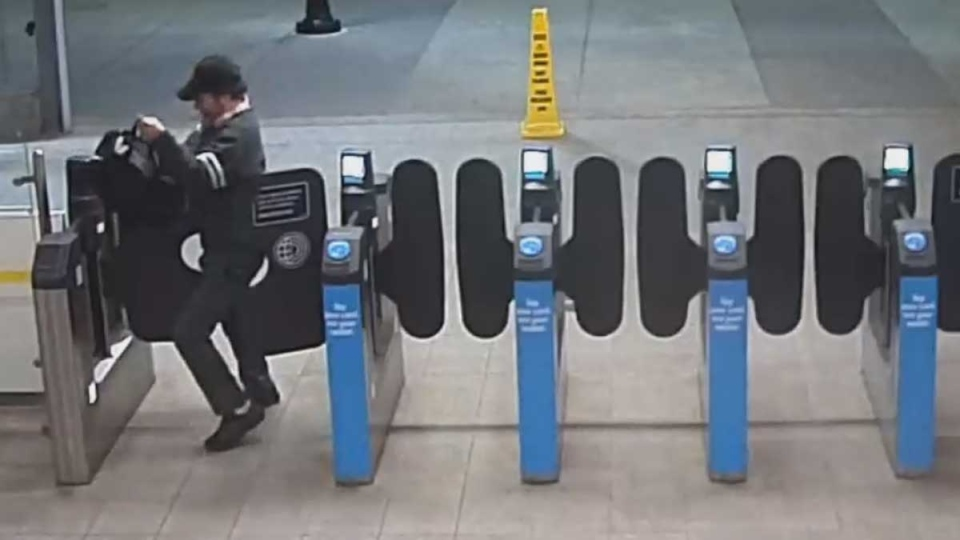 The suspect in an alleged groping is shown in a still image from video released by transit police.