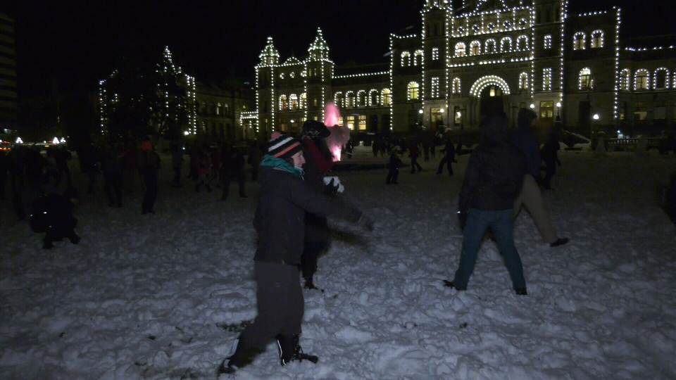 snowball fight in Victoria