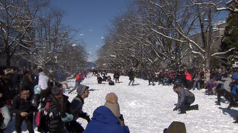 Hundreds of students gathered on Main Mall at UBC for a giant snowball fight February 13, 2019 (CTV News)