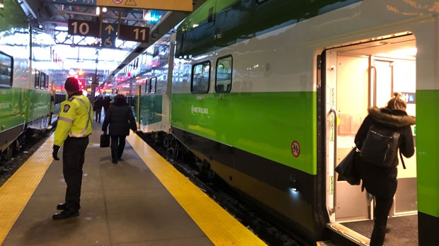 Customers board the 4:50 p.m. express train to Kitchener on Feb. 13, 2019. (Metrolinx)