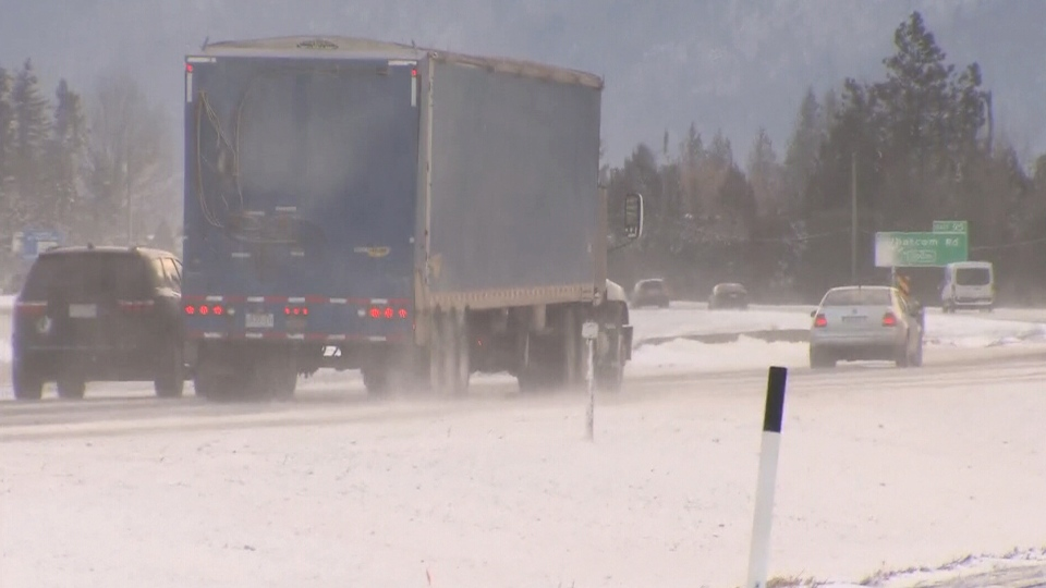 Vehicles are seen driving on an icy Highway 1 in this image from Feb. 13, 2019.