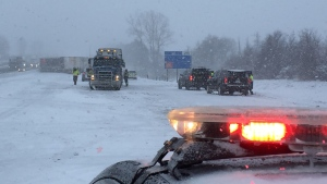 A fatal, multi-vehicle crash shut down the westbound lanes of Highway 401 in Ingersoll, Ont. on Wednesday, Feb. 13, 2019. (Bryan Bicknell / CTV London)