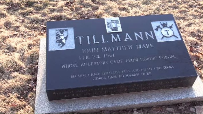 John Mark Tillmann's tombstone at a church cemetery in Elderbank, N.S.