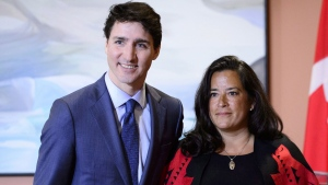 Prime Minister Justin Trudeau and former Veterans Affairs Minister Jody Wilson-Raybould attend a swearing in ceremony at Rideau Hall in Ottawa on Monday, Jan. 14, 2019. Veterans Affairs Minister Wilson-Raybould is quitting the federal cabinet. THE CANADIAN PRESS/Sean Kilpatrick
