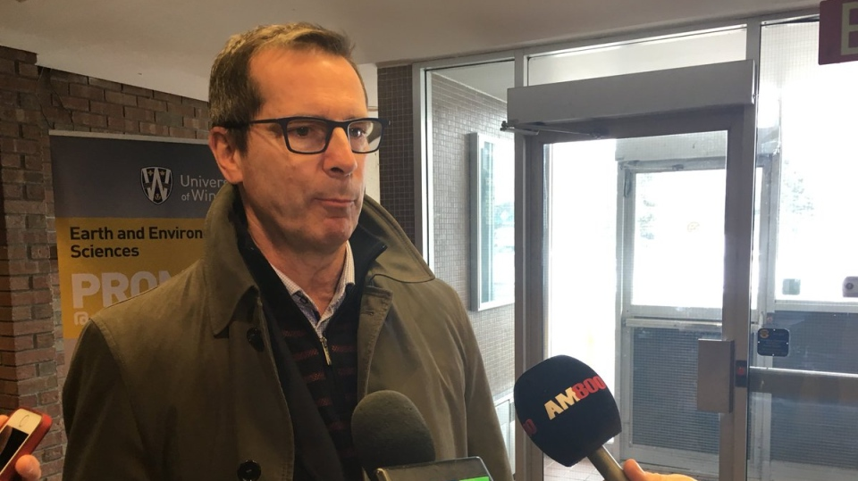 Former Ontario Premier Dalton McGuinty encourages Canadians to do more to protect the environment during a stop in Windsor on February 13, 2019. ( Chris Campbell / CTV Windsor )